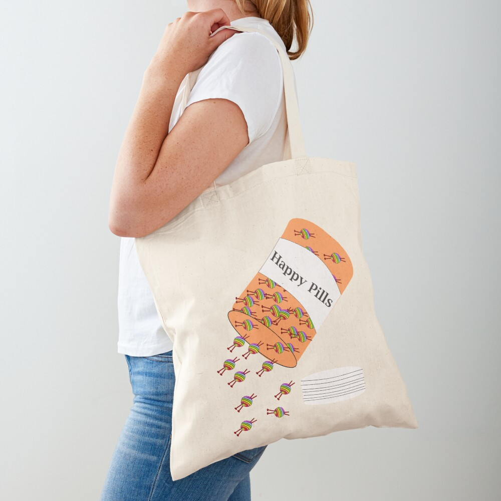 Knitting Happy Pills Tote Bag