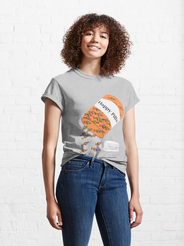 Alternate view of Knitting Happy Pills Classic T-Shirt