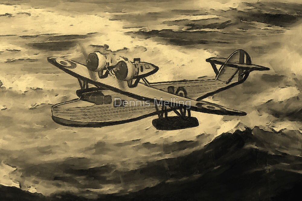 A sepia digital painting of A Saro Cloud A29 of the Royal Air Force by Dennis Melling