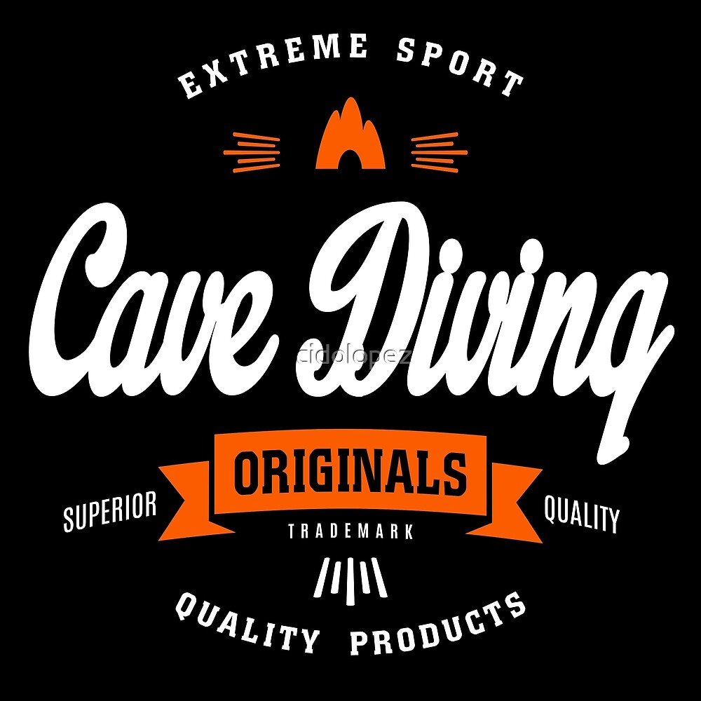 Cave Diving Extreme Sport W&O Design Art by cidolopez