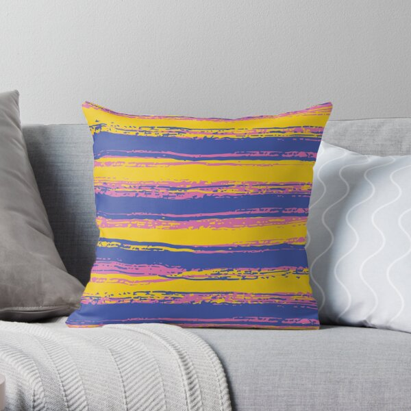 Horizontal Blue, Yellow, Light Pink Stripes Throw Pillow