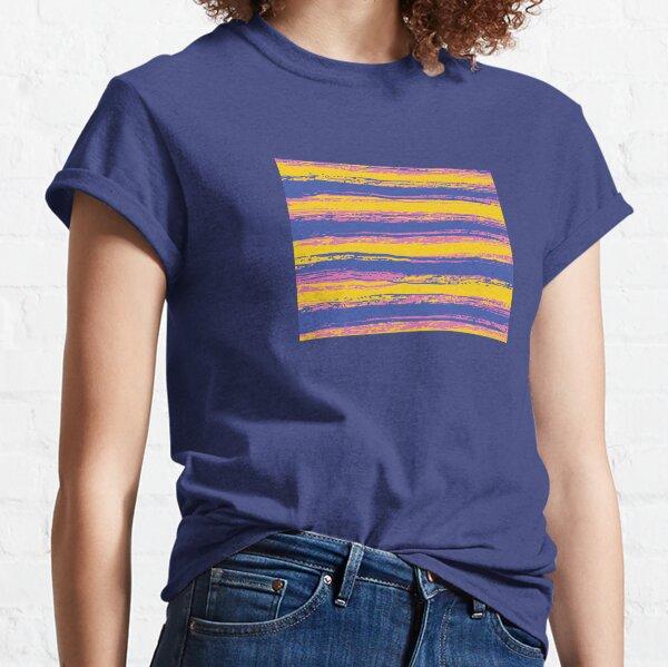 Horizontal Blue, Yellow, Light Pink Stripes Classic T-Shirt
