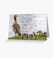 Goose with babies Greeting Card
