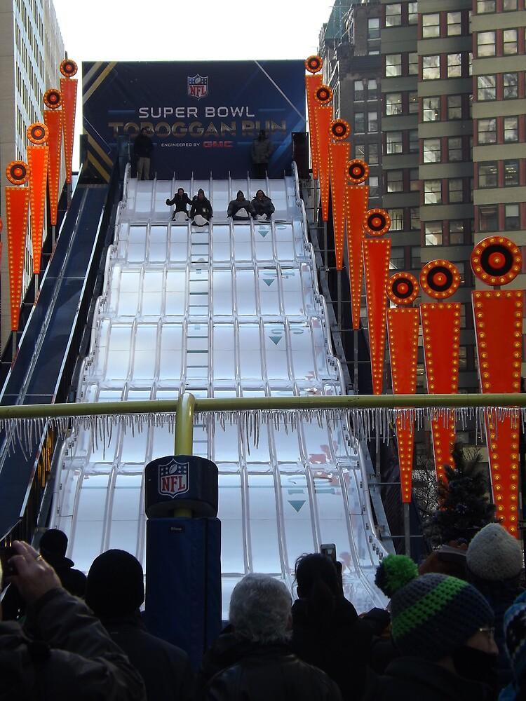60 Foot High Toboggan Run, Super Bowl Boulevard, Times Square, New York City  by lenspiro