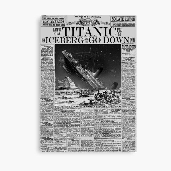 Mock Titanic Newspaper Headline B/W Canvas Print
