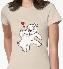Cat Loves Bear Hug T-Shirts, Hoodies, Kids Clothes, and Stickers Womens Fitted T-Shirt