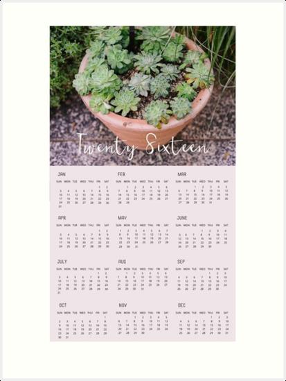 2016 Succulent Wall Calendar by tinacrespo