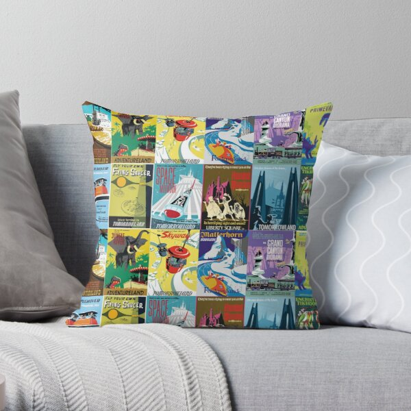 Vintage Ride Posters Throw Pillow