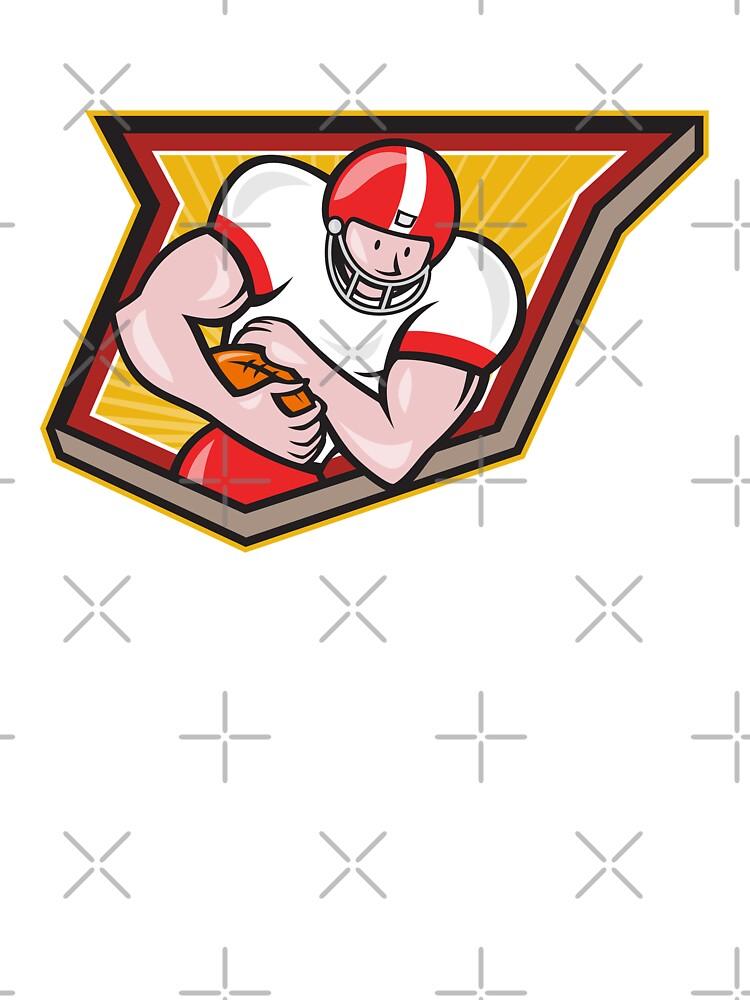 American Football Running Back Run Shield Cartoon by patrimonio