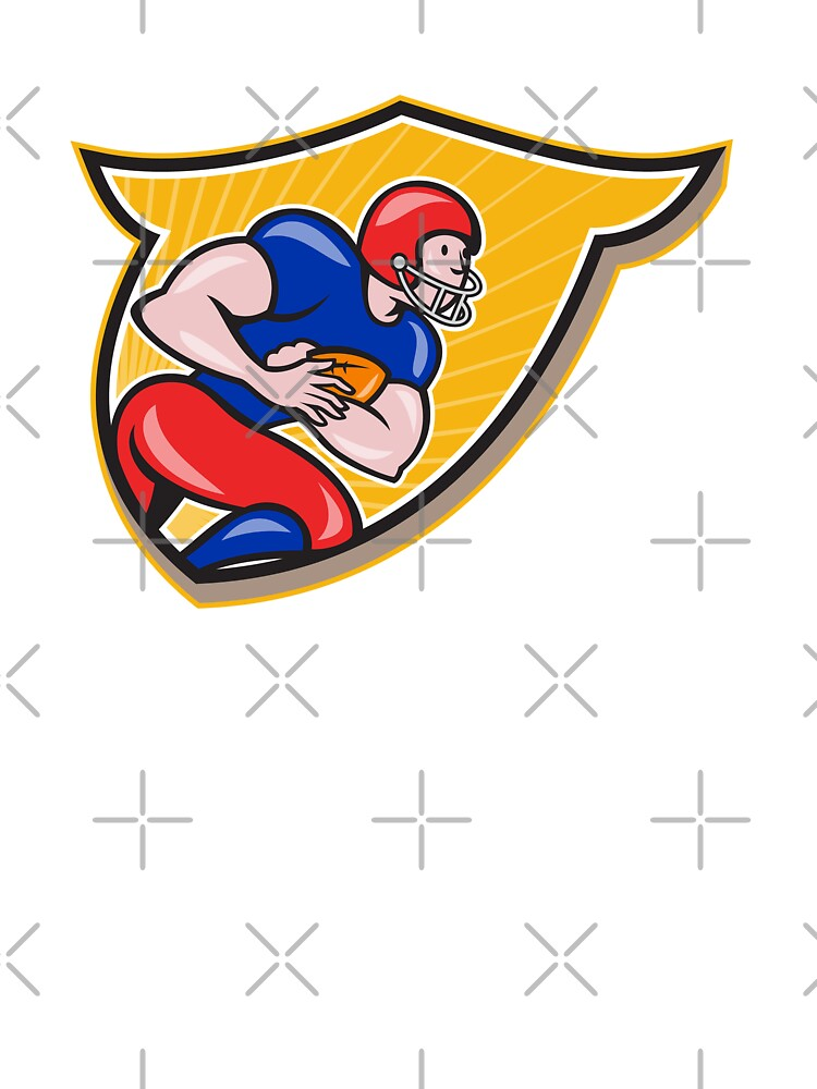 American Football Running Back Rushing Shield Cartoon by patrimonio