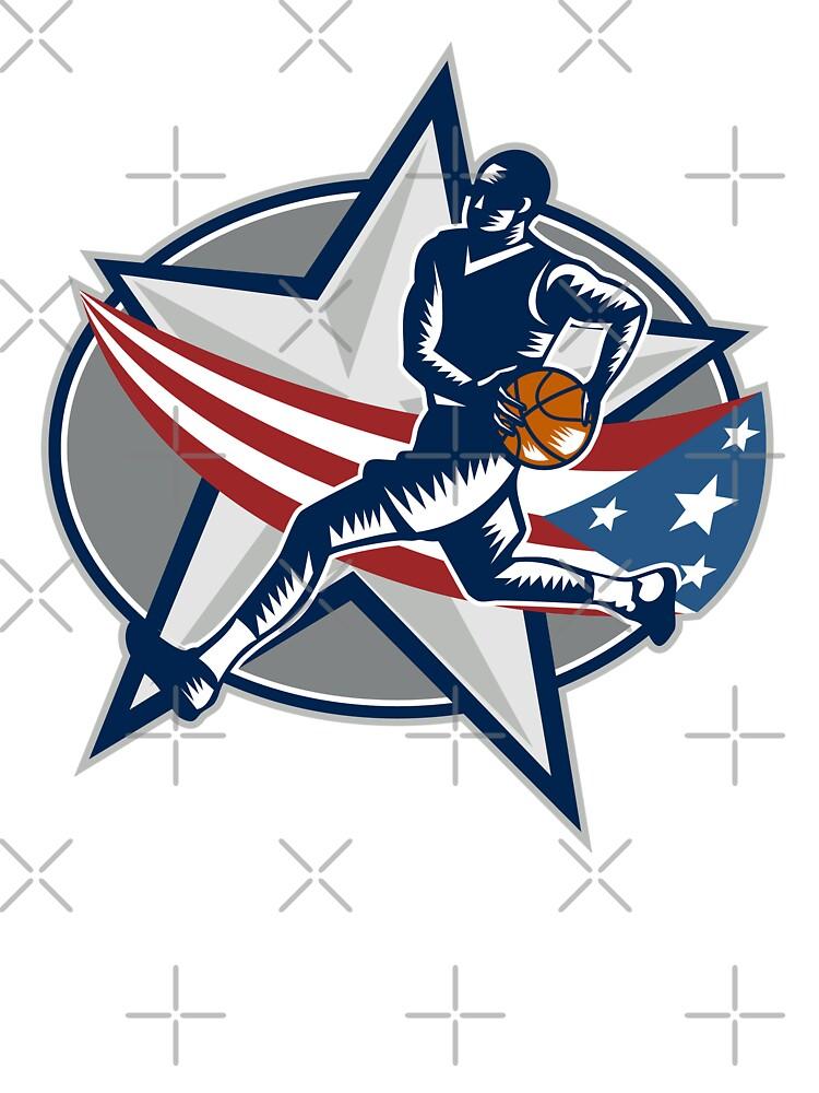 Basketball Player Fast Break Lay-Up Woodcut by patrimonio