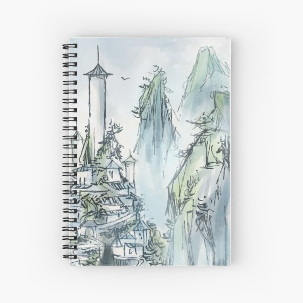Southern Air Temple - Ink Landscape Painting Spiral Notebook