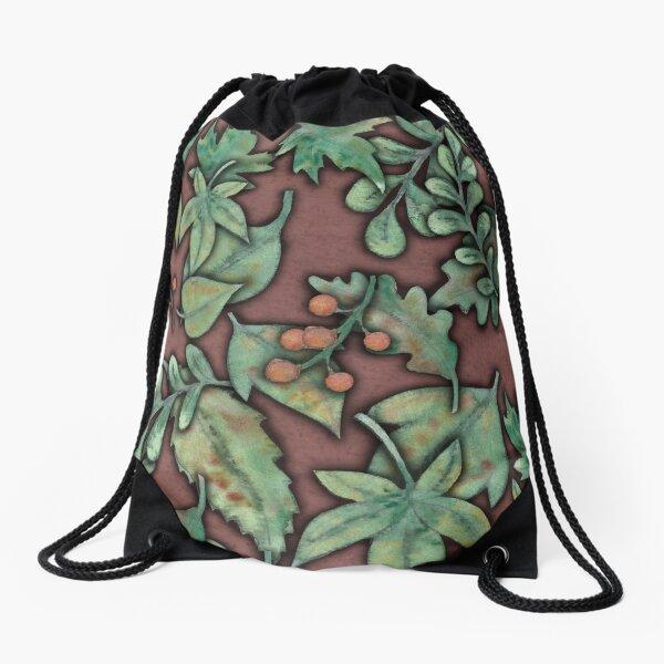 Autumn leaves on a dusky pink background Drawstring Bag