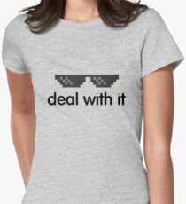 deal with it (black text) Womens Fitted T-Shirt