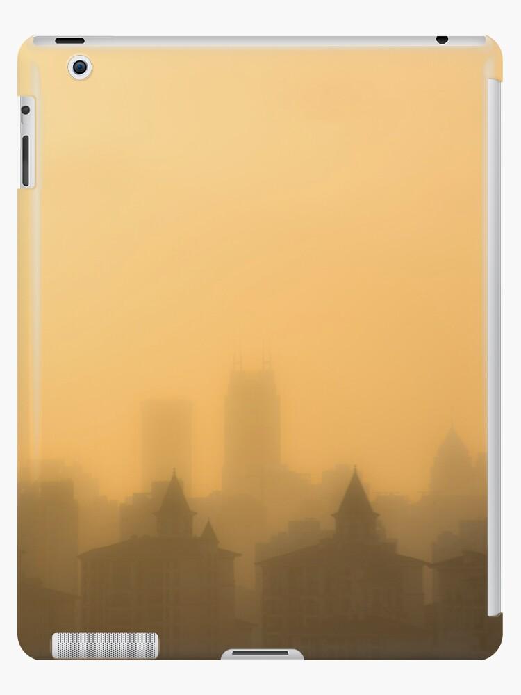Shanghai yellow sunset in smog by Steve Björklund