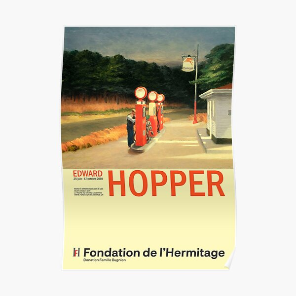 Edward Hopper - Gas - Minimalist Exhibition Art Poster Poster