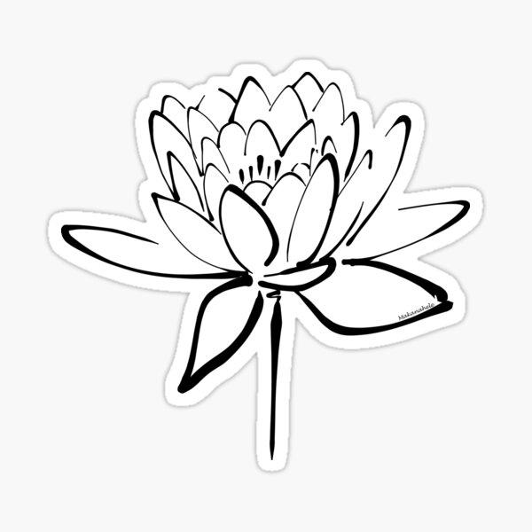 Lotus Flower Calligraphy (Black) Sticker