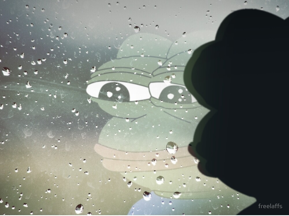 Pepe The Sad Frog Rainy Reflection by freelaffs
