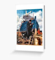 Caulking with Oakum,(detail) Greeting Card