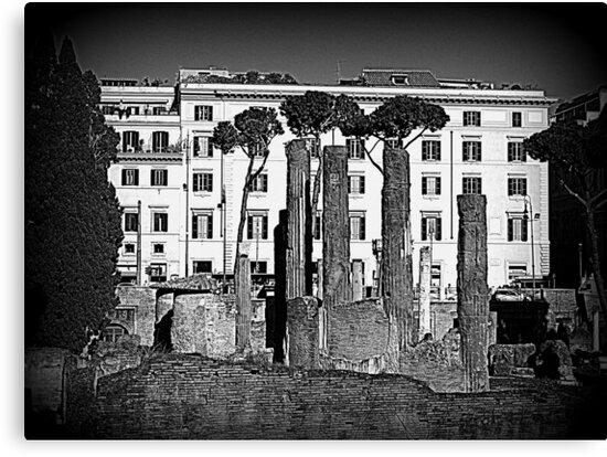 Rome, ruins with buildings in the background by orsinico