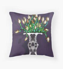Yellow Tulips on Purple Throw Pillow