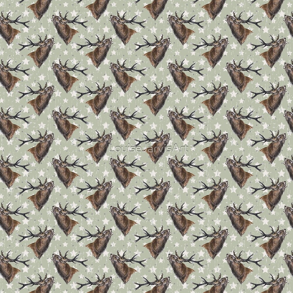 green stag fabric  by LouiseJarvisArt