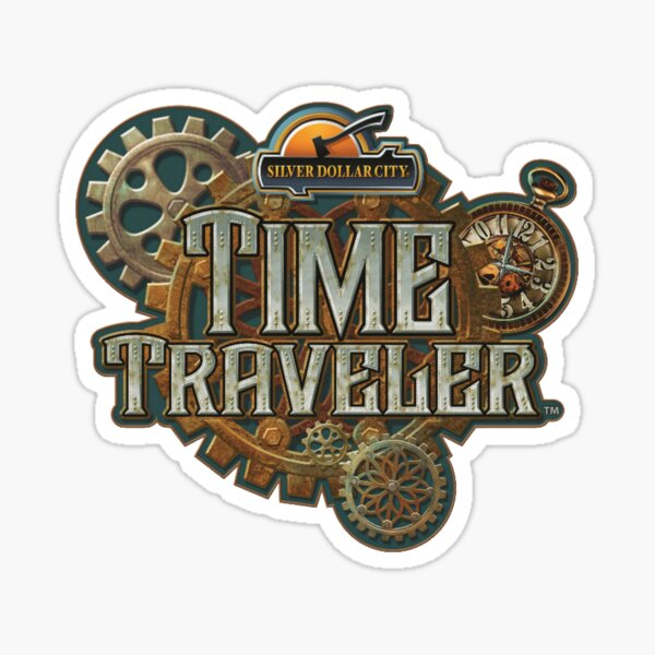 Time Traveler Silver Dollar City Sticker