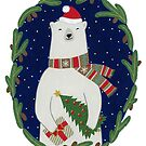 Polar bear with Christmas tree by Yuliya Art