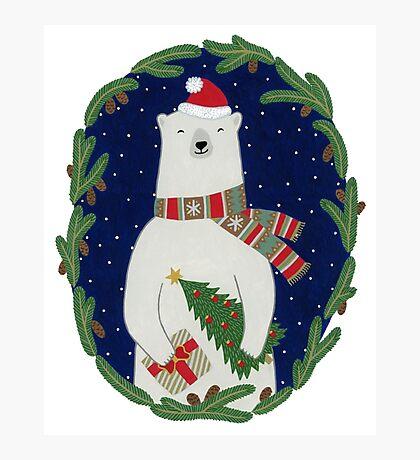 Polar bear with Christmas tree Photographic Print