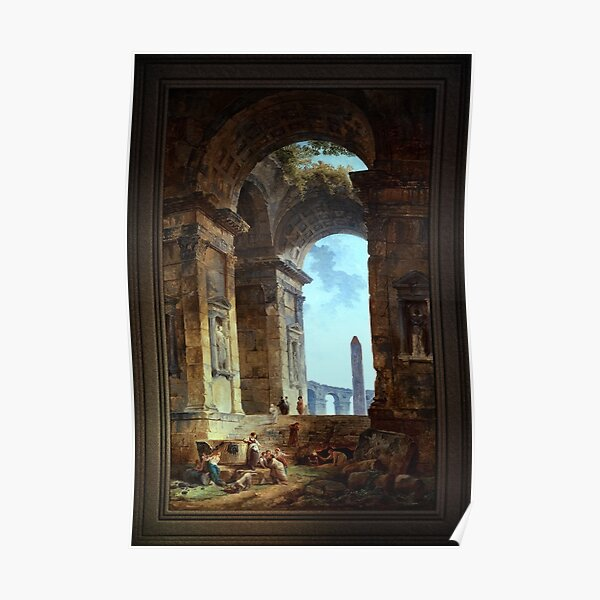 Ruins With An Obelisk In The Distance Old Masters Fine Art Reproduction Poster