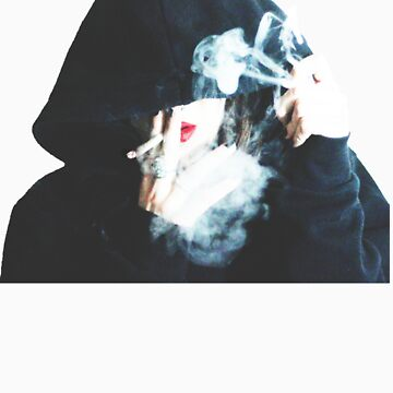 girl with hoodie smoking weed by jneves