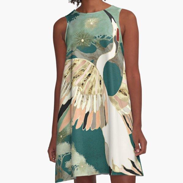 Golden Crane A-Line Dress