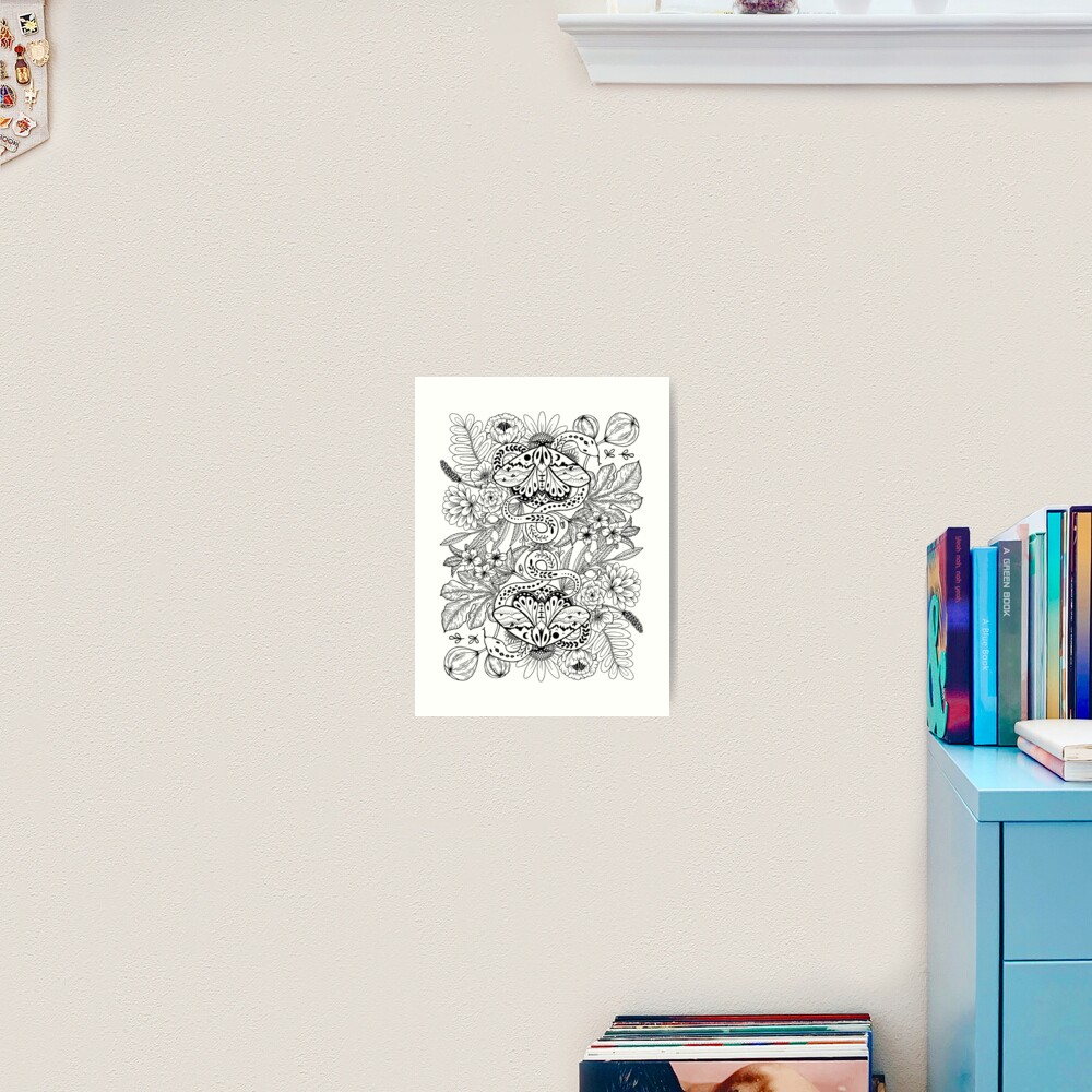 Moths and snakes Art Print