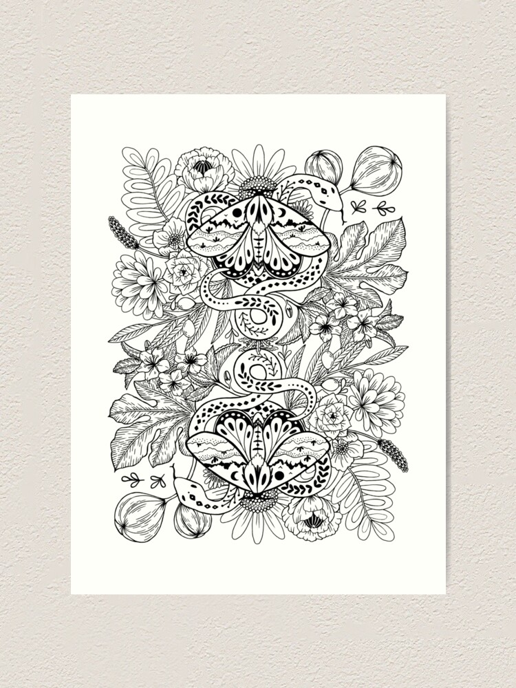 Alternate view of Moths and snakes Art Print