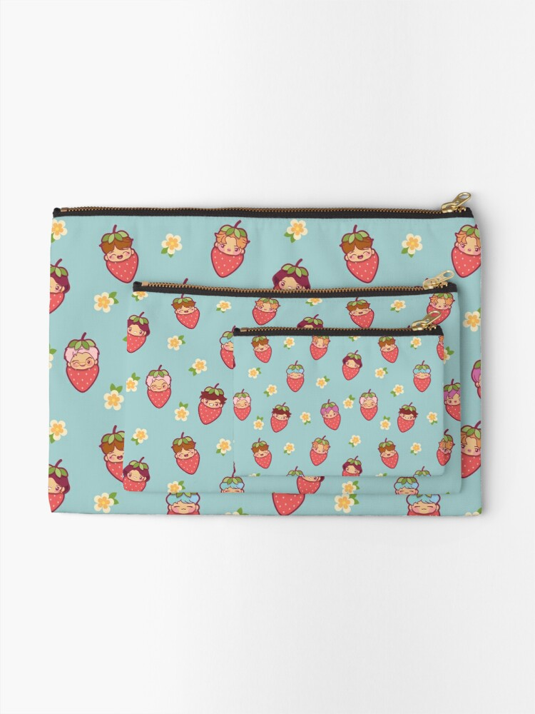 Alternate view of BTS Strawberry Patch ~Pouches & Pillows~   Zipper Pouch