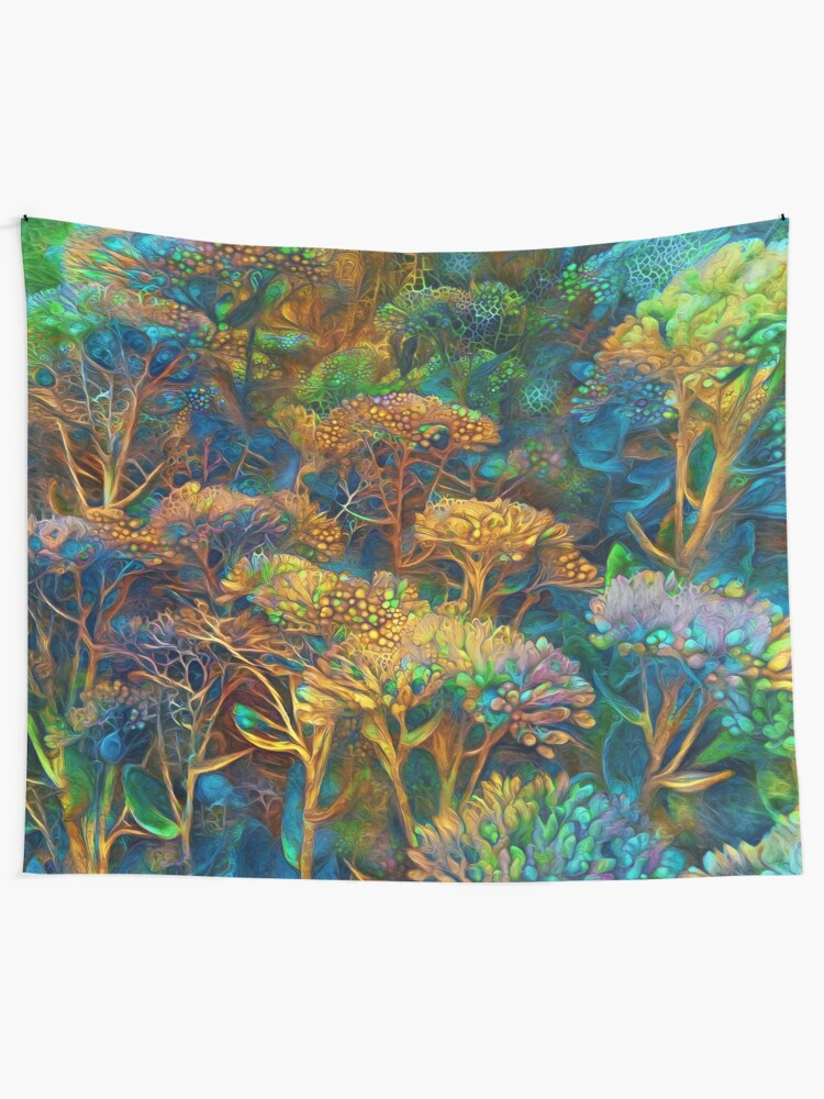 Alternate view of Fantasy floral abstract digital painting Tapestry