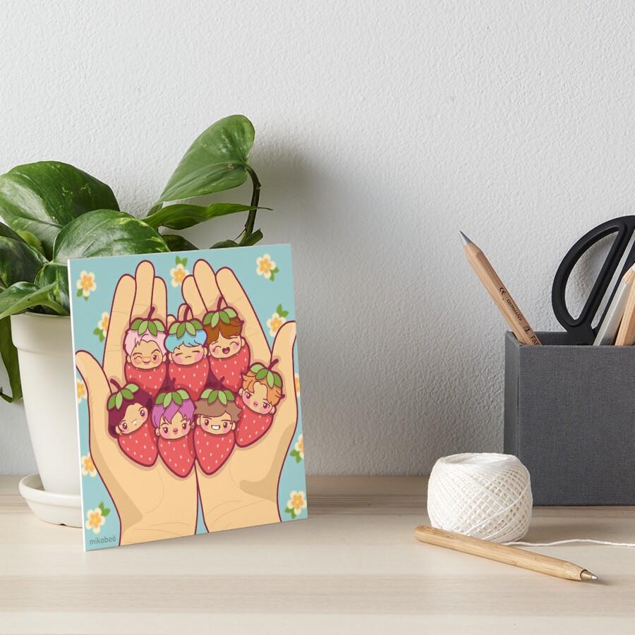 BTS Strawberry Patch ~Art Prints~ Art Board Print