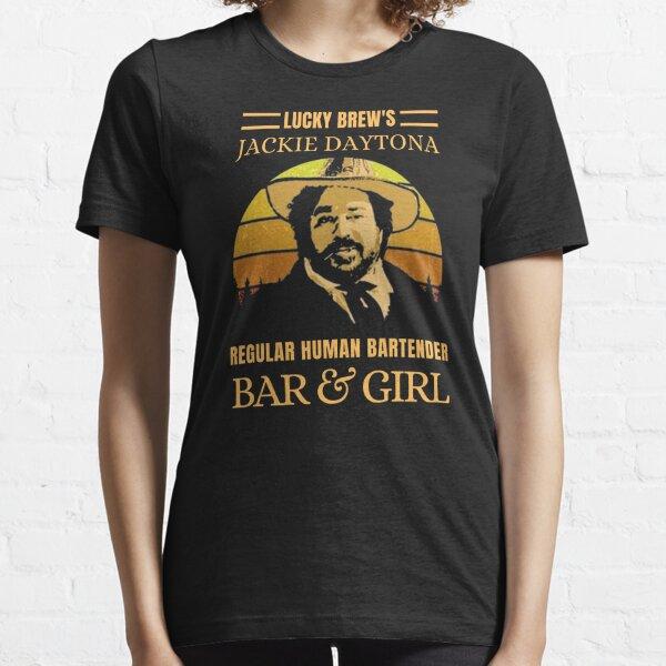 LUCKY BREWS JACKIE DAYTONA HUMAN BARTENDER REGULAR BAR AND GIRL VINTAGE RETRO Camiseta esencial