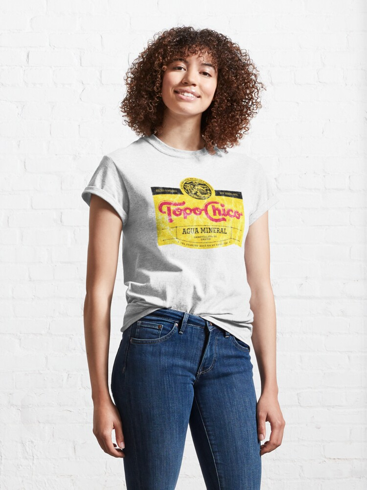 Alternate view of Topo Chico agua mineral worn and washed logo (sparkling mineral water) Classic T-Shirt