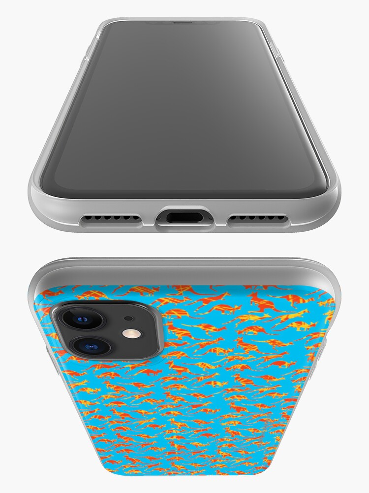 Alternate view of Orange Kangaroos on blue background iPhone Case & Cover