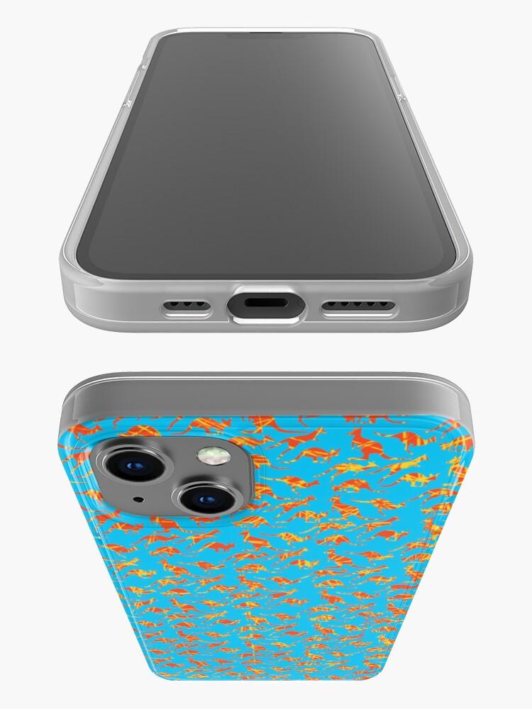 Alternate view of Orange Kangaroos on blue background iPhone Case