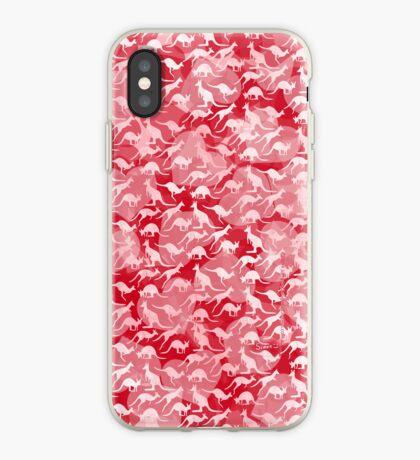 Pink Kangaroos on Harts Bakground iPhone Case