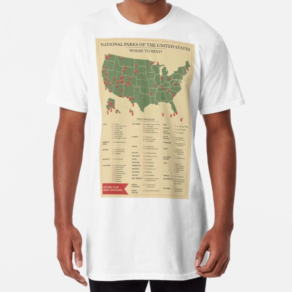 US National Parks Checklist Poster  Long T-Shirt