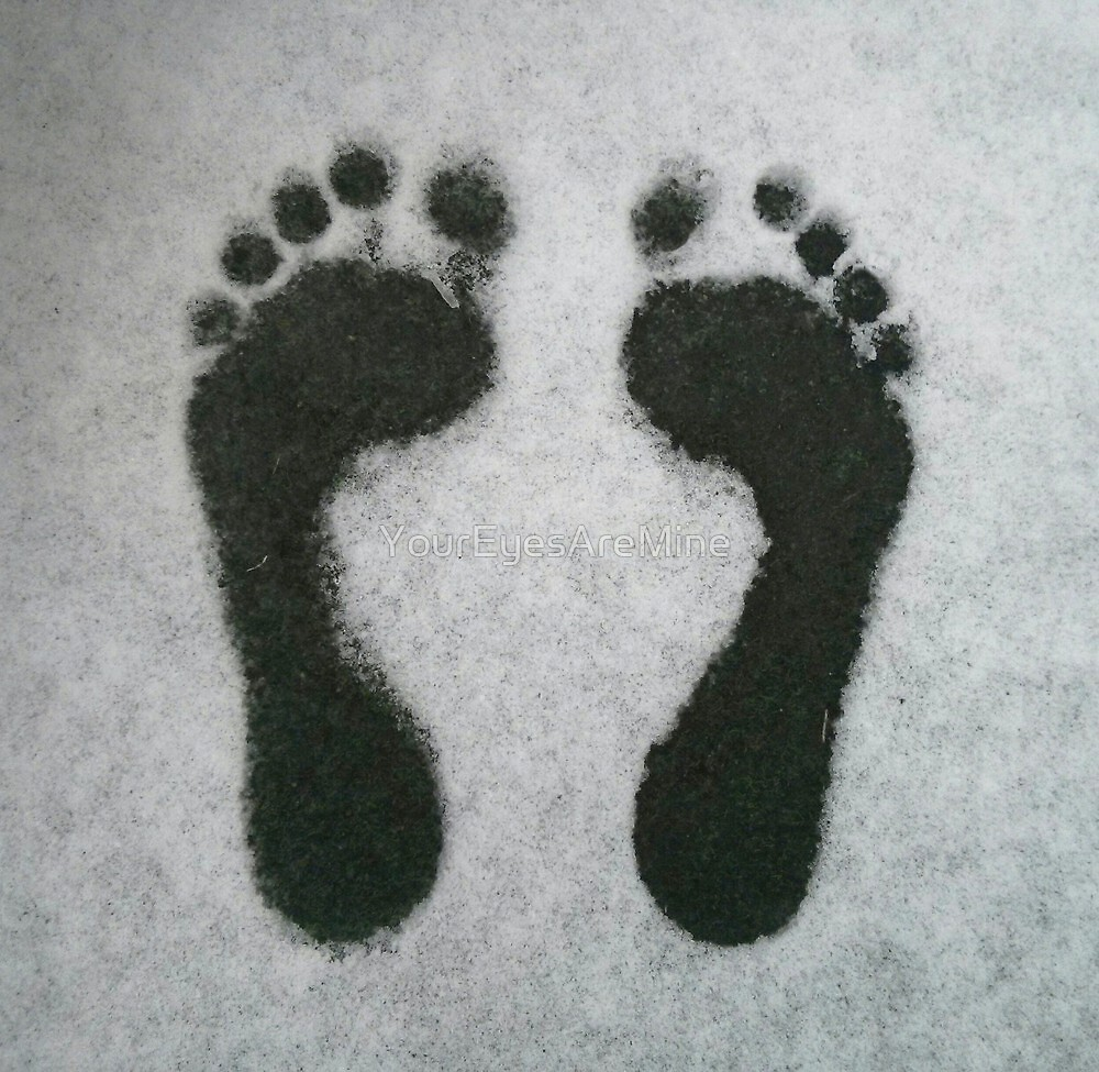Footprints in the snow by OLIVER W