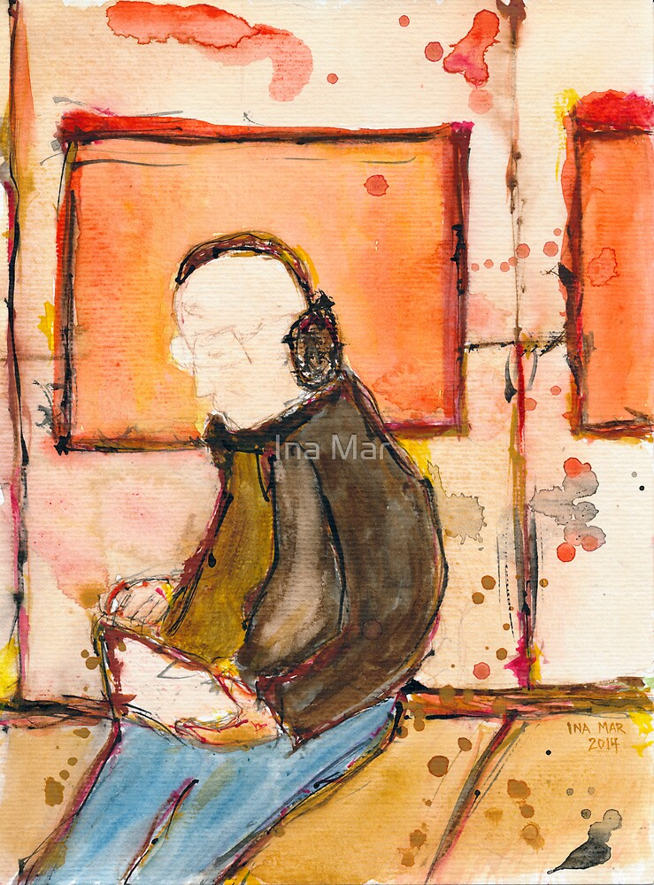 Icon of casual man with ipad in the underground by Ina Mar