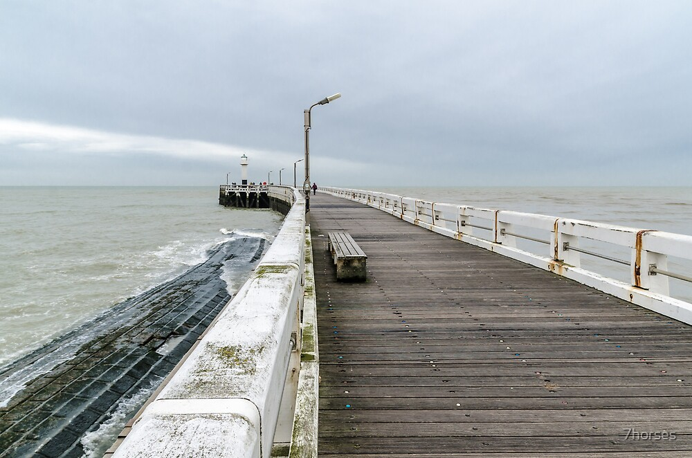 Wooden pier entrance of North Sea port in Nieuwpoort by 7horses