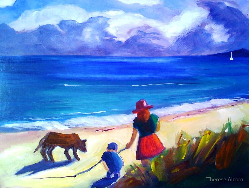 Children with Black Dog by Therese Alcorn