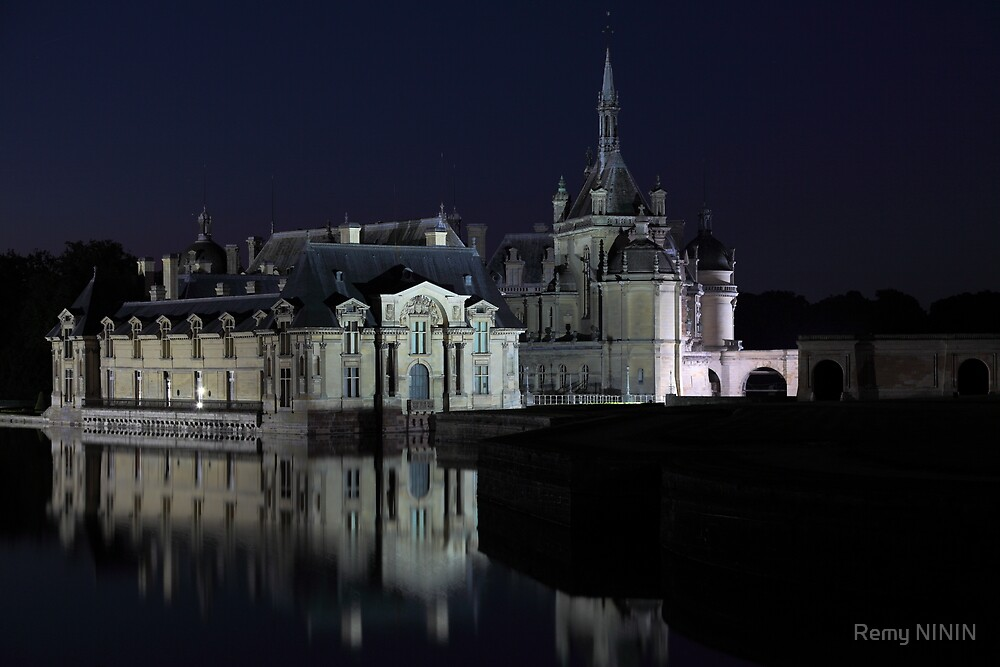 Chantilly, details of the castle at night, Oise, France. by Remy NININ