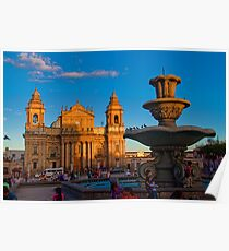 Guatemala. Guatemala City. Cathedral & Fountain. Poster