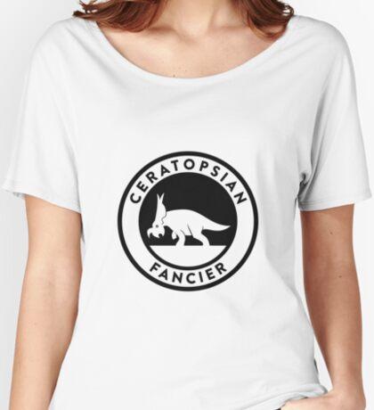 Ceratopsian Fancier Tee (Black on Light) Women's Relaxed Fit T-Shirt